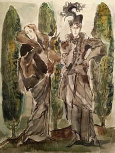 Items similar to Proud Beauties of the Cyprus Garden Original Painting Dandy Extravagant Fashion Fur Feathers Satire Vanity Androgynous Boys Girls Art Deco on Etsy Cyprus Gardens, Androgynous Boy, Original Art, Original Paintings, Ink Painting, Watercolor And Ink, Mythical Creatures, Faeries, Pretty Pictures