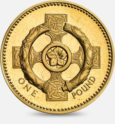 1996 / 2001 A Celtic Cross with a Pimpernel Flower £1 (One Pound) Coin #CoinHunt
