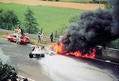 Niki Lauda's F1 crash in Germany. He sustained severe burns and was not expected to recover but he did and he returned to racing.