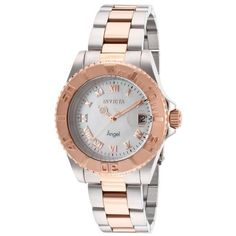 Invicta Women's Angel Silver-Tone and 18K Rose Gold Plated SS MOP Dial (1.227.465 IDR) ❤ liked on Polyvore featuring jewelry, watches, rose jewelry, bezel watches, polish jewelry, rose gold plated jewelry and rose watches