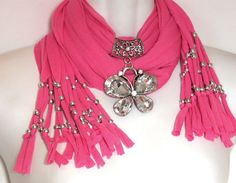 Candy Pink Scarf Jewelry Scarves With by RavensNestScarfJewel, $26.00