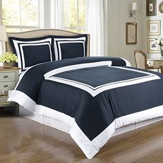 Deluxe Reversible Hotel Duvet Cover Set 100 Egyptian Cotton 300 Thread Count Bedding woven with superior singleply yarn 3 piece Full  Queen Size Duvet Cover Set Navy and White -- You can find more details by visiting the image link.