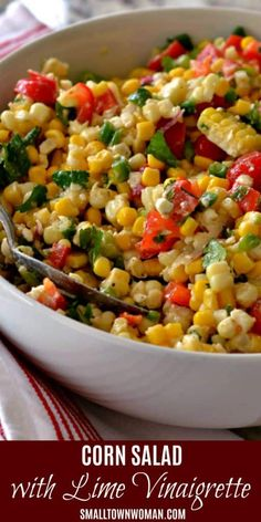 Corn Salad with Easy Lime Vinaigrette is a quick and easy healthy side dish recipe perfect for holiday dinners! This delectable corn salad brings together fresh ingredients and feta cheese in a lightly sweetened lime vinaigrette. Corn Salad Recipes, Corn Salads, Corn Salad Recipe Easy, Recipes With Corn, Salads For Bbq, Mixed Vegetable Salad Recipes, Picnic Salad Recipes, Summer Vegetable Recipes, Mexican Salad Recipes