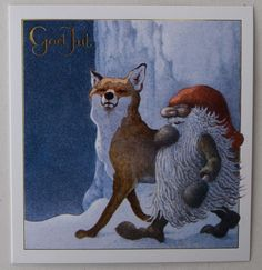 HELJE Folded Card  GNOME and a PROUD FOX Tomte Nisse  Sweden FREE SHIPPING