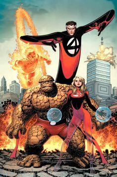 Fantastic Four FF Human Torch Thing Invisible Woman Mister Fantastic Marvel Marvel Dc Comics, Bd Comics, Marvel Art, Marvel Heroes, Captain Marvel, Marvel Avengers, Comic Book Artists, Comic Book Characters, Comic Book Heroes