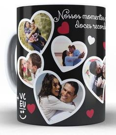 Photos Colage, Valentine Day Gifts, Holiday Gifts, Tea And Books, Birthday Coffee, Customised Mugs, Sublimation Mugs, Birthday Gifts For Husband, Painted Jars