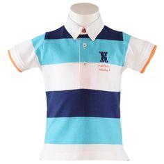 Espanjalaisen Nel-Blun sini-valkoraidallinen pikeepaita pojille. Paidan etupuolella pieni kuvio ja hihansuissa oranssi raita.