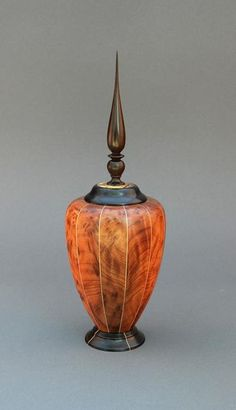 1st Place, Andy Chen, Gulf Coast Woodturners Association. Piece is Madagascar, Ebony,  Maple, Redwood Box  #wood #vessel #sculpture