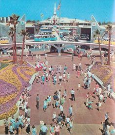 a New Tomorrowland in 1967 came a new fresh look. The colors were that of the space age (mostly white). Everything had a wonderful mid-century style. It was wonderland of sleek, kinetic edutainment. Disneyland Tomorrowland, Disneyland World, Disneyland California, Vintage Disneyland, Disneyland Resort, Disneyland Times, Disneyland History, Southern California, Disney Dream
