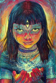 Seeing through the third eye is something that sparkles the interest of many. See the visions one could get with an open third eye. Art And Illustration, Art Inspo, Kunst Inspo, Art Visionnaire, Psy Art, Ouvrages D'art, Hippie Art, Visionary Art, Third Eye