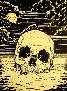 skull in water w/clouds