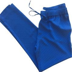 Pre-owned Joie Kaplan Straight Pants ($119) ❤ liked on Polyvore featuring pants, capris, blue, silk cropped pants, joie, relaxed pants, crop pants and blue crop pants