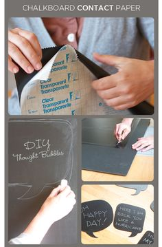 Chalkboard contact paper. I didn't know this existed! Much easier than paint! Could make some cute labels too!