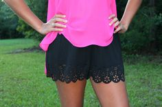 $26 Black Scalloped Cut Out Shorts!!
