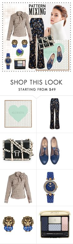 """Head-to-toe Pattern Mixing #005"" by yaschy ❤ liked on Polyvore featuring DENY Designs, self-portrait, Proenza Schouler, Isabel Marant, Versace, Gucci, Guerlain and patternmixing"