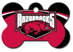 Personalized Laser Engraved 15 x 1 inch Arkansas Razorbacks Bone Shape Pet ID Tag Free Tag Silencer * See this great product.