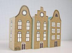DIY pakket 3 papieren huisjes Groen blauw & beige door Heedopter