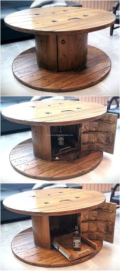The table is necessary in every room of the home, so here is an idea to create a unique recycled wood pallets cable spool table for the TV launch to make it look amazing. The design is easy to copy and it will surely look amazing in any area of the home.