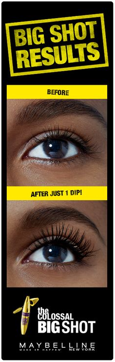 Gorgeous, bold, voluminous lashes in one swipe! Get your bossiest lashes ever using Maybelline The Colossal Big Shot Mascara.  The Big Shot brush features unique, wavy bristles that cradle lashes, while the collagen formula delivers bold volume.