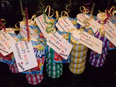"End of School Year gift.    ""Have a Krazy Kool Summer"".    Crazy straw cups w/ Kool Aid packets attached."