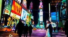 Wedding Portrait on Times Square, New York