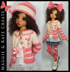 """Coral & Cream Spring Outfit for Kaye Wiggs 18"""" MSD BJD by Maggie & Kate Create"""