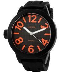 Breda Mens 8137_orange Jaxon Thick Bold Black Bezel Silicone Band Watch