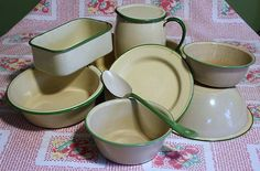 I can see that there are still lots of pieces of cream and green enamelware that I have not discovered yet!