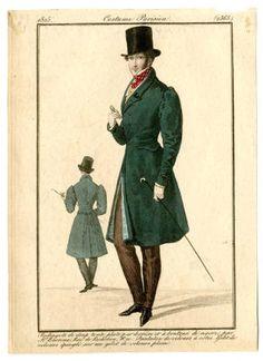 1825 Gentleman's Green Coat Mens Wear Costume Institute Fashion Plates libmma.contentdm.oclc.org