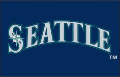 Seattle Mariners Jersey Logo (1999) - Seattle in navy with teal and white outlines on navy (compass star in S)