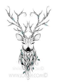 LouJah - Poetic Deer #art #illustration #draw #drawing #doodle #stretch #boho…