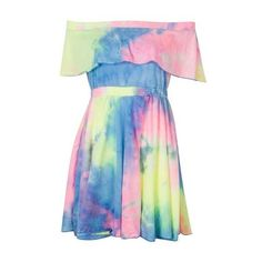 Color Block Off Shoulder Tie Dye A-line Dress ($23) ❤ liked on Polyvore featuring dresses, block print dresses, tye dye dress, tie-dye dress, a line dress and colorblocked dress