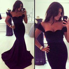 Elegant Black Off Shoulder Floor Length Mermaid Dress