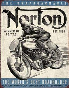 Norton The World's Best Road holder Tin Sign
