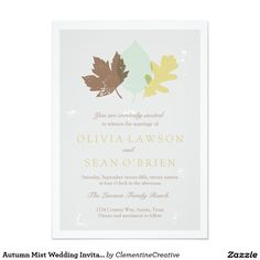 Shop Zazzle's luxurious range of Autumn custom wedding invitations. Navy Wedding Invitations, Custom Wedding Invitations, November Wedding, Menu Cards, Save The Date, Thank You Cards, Wedding Cards, Mists, Fall Wedding