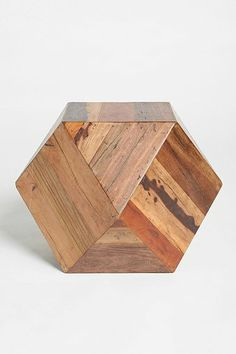 { Faceted Woodblock Side Table }