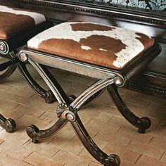 Want to get comfortable with cowhide before you commit to a large statement piece? Start small, with a subtle, functional accent piece, like a footstool or a mirror. Cowhide Decor, Cowhide Furniture, Western Furniture, Furniture Decor, Cabin Furniture, Furniture Design, Country Decor, Rustic Decor, Woodland Decor