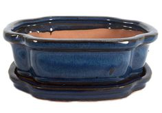 "Ceramic 6"""" Bonsai Pot/Saucer - Ocean Blue Rectangle Fancy"