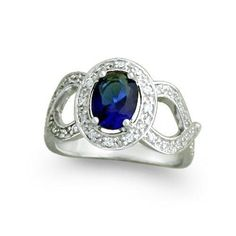 Bling Jewelry 925 Silver 1.5ct Oval Sapphire Color CZ Infinity Engagement Ring