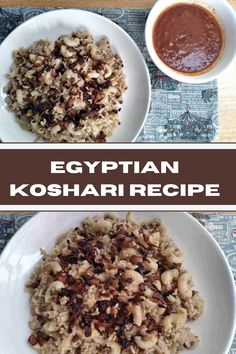 Koshari is an authentic Egyptian rice recipe that is mixed with macaroni, brown lentils, and garnish with fried brown onion, which is served with tomato garlic sauce. Party Recipes, Rice Recipes, Side Dish Recipes, Lunch Recipes, Delicious Recipes, Side Dishes, Yummy Food, Egyptian Koshari Recipe