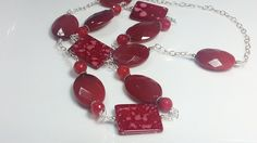 Long Red Gemstone  Necklace  Square Glass by austinleighdesigns, $86.45