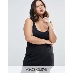 ASOS CURVE Ultimate Singlet In Longline ($9.57) ❤ liked on Polyvore featuring plus size women's fashion, plus size clothing, plus size tops, black, plus size, tall tank tops, womens plus tops, party tank tops and plus size going out tops