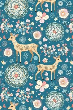 Illustration about Seamless color pattern with fabulous deer and flowers and hearts on a blue background. Illustration of natural, birds, greeting - 18638870 Iphone Wallpapers, Cute Wallpapers, Wallpaper Backgrounds, Deer Wallpaper, Spring Wallpaper, Flower Backgrounds, Wallpaper Ideas, Art Et Illustration, Pattern Illustration