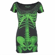 Schwarzes Shirt-Kleid in weicher Tragequalität und mit großem Skelettprint auf der Front und Logoprint auf dem Rücken. Einfach supercool und eine echte Styleansage. Original von Kreepsville 666 aus dem fernen Schottland.