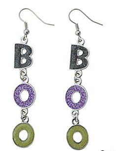 B-O-O Silver-toned Sparkling Enamel Dangle Earrings 3  Halloween Jewelry for women