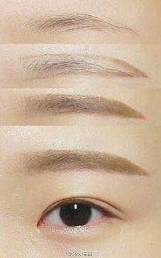 New makeup korean eyebrows straight brows ideas Makeup Korean Style, Korean Makeup Tips, Asian Eye Makeup, Korean Makeup Tutorials, Eyebrow Makeup, Makeup Eyeshadow, Makeup Eyebrows, Makeup Style, Makeup Inspo