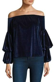 c6fc57e2c857f2 Rich velvet off-shoulder top with tiered sleeves. Off-the-shoulder neck.  About from shoulder to hem. Model shown is wearing size Small.