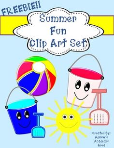 """This summer fun clip art set includes graphics great for summer inspired classroom activities, cover pages and more!This set contains 6 high-quality graphics that can be scaled to your liking. Set includes color only images:-Beach ball-2 pails-2 shovels-SunPlease see """"Terms of Use"""" included in this download for details on commercial use.Enjoy and please don't forget to rate this product!"""