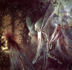 """John Anster Fitzgerald, """"Faeries Looking Through a Gothic Arch"""""""