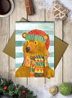 Fai degli speciali auguri di Buon Natale con questo biglietto natalizio di un mio acquarello che raffigura un orso con una sciarpa e cappello,
